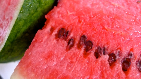Organic watermelon… Superb nice! Ants love it…  A simple experiment, you can put  a slide of watermelon on a plate, if no ants surrounding it, you know well on what is going on.