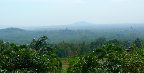 Borobudur, from far distance… so beautiful!