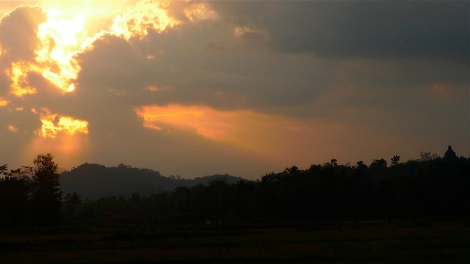 Sunset in Borobudur, can you see the temple? on your right...