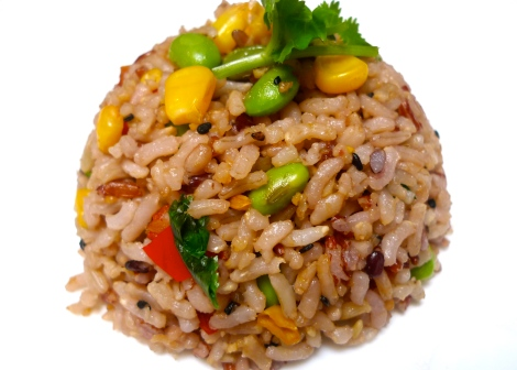 Are you hungry? It's a Organic Vegetarian Fried Rice. You can live a beautiful life without harming our animal friends!