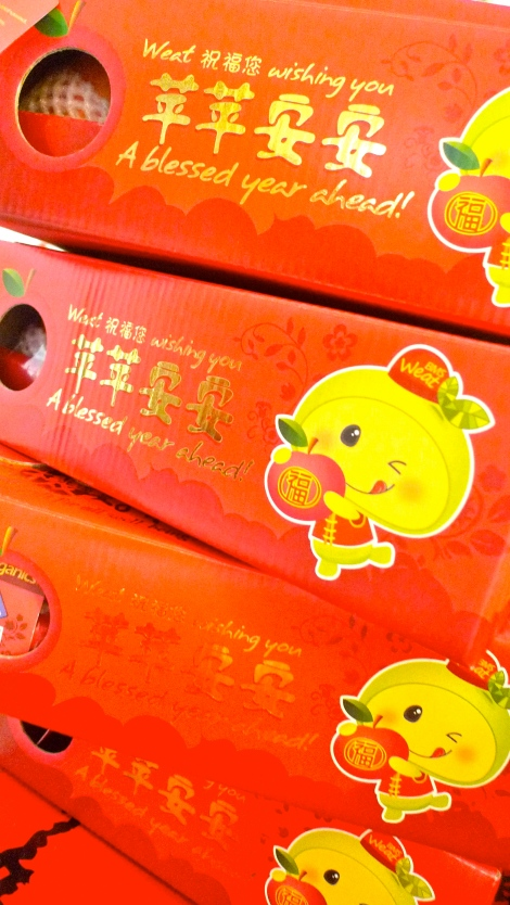 """Instead of hamper, I'll prepare organic apples as CNY gifts. It's so healthy and bring an important message, """"Have a blessed  and peaceful year ahead!"""" What is more important than this?"""
