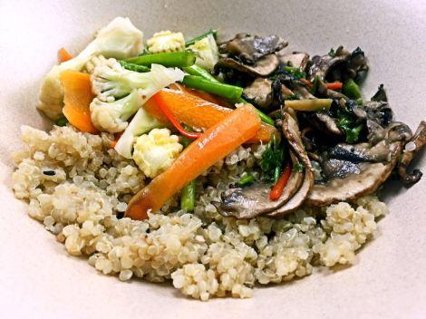 Yummy home cook Organic Quinoa with portobello mushroom.