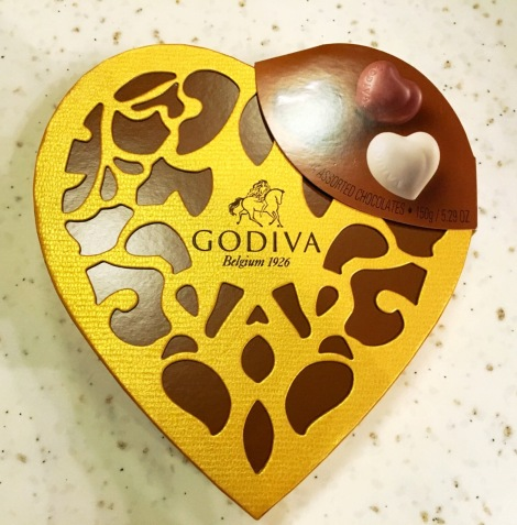 Wow! The heart shape of Godiva chocolate. It melted our heart with her kind thoughts!
