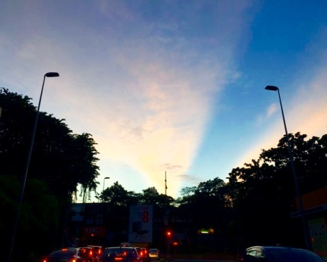 One of my friend stuck in traffic jam, she captured this beautiful photo when she looked up to the sky. Why angry, be happy!