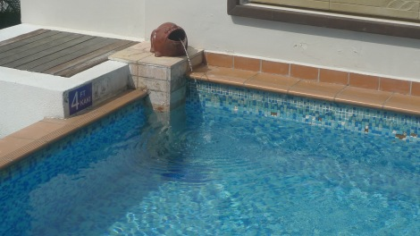 """The water in swimming pool is so peaceful if there is no water flow from the """"the fish mouth""""."""